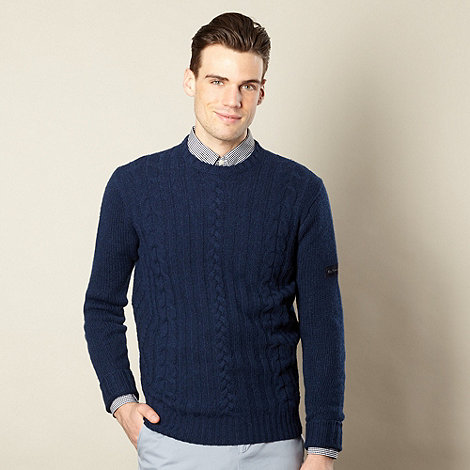 Ben Sherman - Navy cable knitted wool jumper