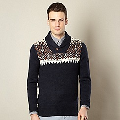 Ben Sherman - Big and tall navy fairisle knit shawl neck jumper