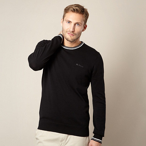 Ben Sherman - Black twin tipped crew neck jumper