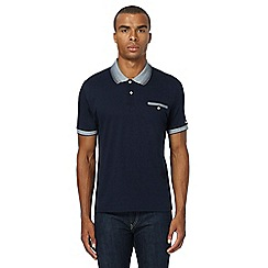 Ben Sherman - Navy textured polo shirt