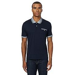 Ben Sherman - Big and tall navy textured polo shirt