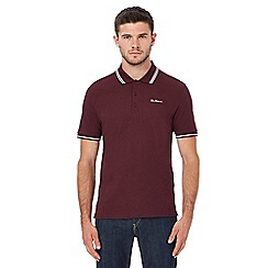 Ben Sherman - Big and tall dark red embroidered logo tipped polo shirt
