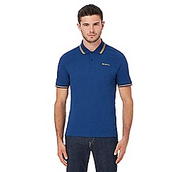 Ben Sherman - Big and tall blue embroidered logo tipped polo shirt