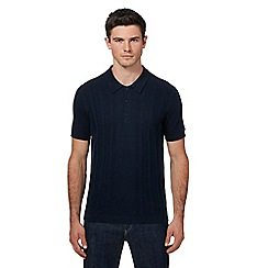 Ben Sherman - Navy knitted polo shirt