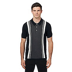 Ben Sherman - Big and tall black knitted striped polo shirt