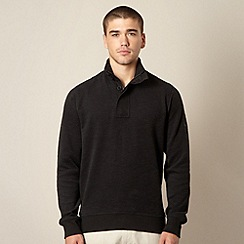 Ben Sherman - Big and tall black textured funnel neck sweatshirt