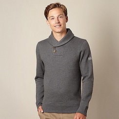 Ben Sherman - Big and tall dark grey shawl neck sweat top