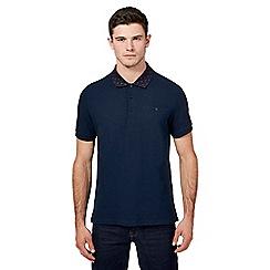 Ben Sherman - Big and tall navy target print collar polo shirt