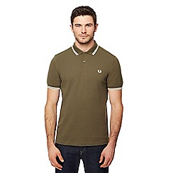 Fred Perry - Green tipped embroidered logo polo shirt