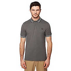 Fred Perry - Grey tipped embroidered logo polo shirt