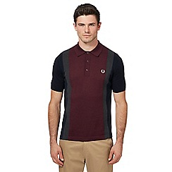 Fred Perry - Navy knitted stripe polo shirt