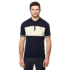 Fred Perry - Navy knitted zip neck polo shirt