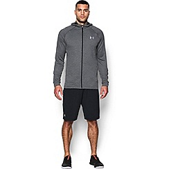 Under Armour - Grey terry 'Tech ' fitted long sleeve hooded top