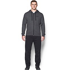 Under Armour - Grey rival fleece cotton blend full zip hooded warm up top