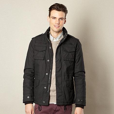 Schott - Black padded zip pocket coat