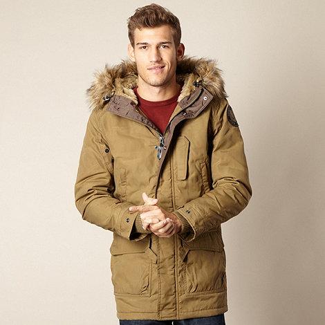 Schott - Beige faux fur parka jacket