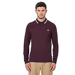 Fred Perry - Purple embroidered logo long sleeve polo shirt