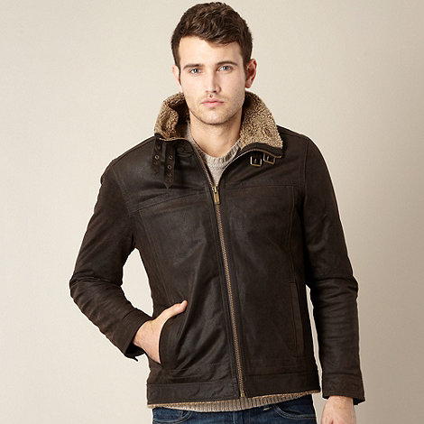 Barneys - Chocolate suede leather fleece collar jacket