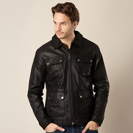 Barneys - Black suede leather four pocket jacket