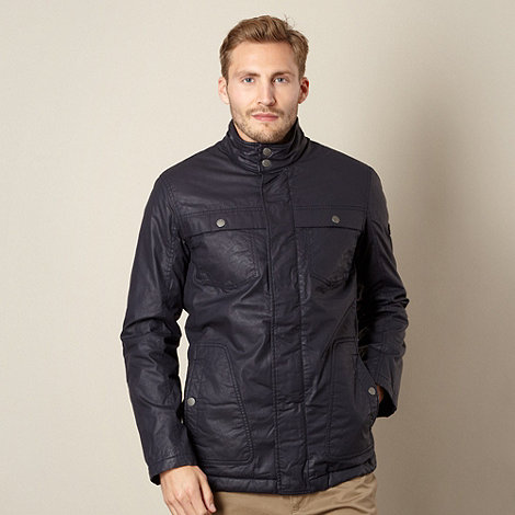 Ben Sherman - Navy coated fleece lined jacket
