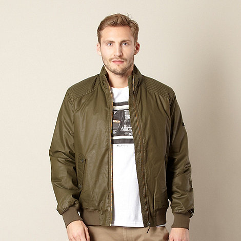 Ben Sherman - Dark olive coated bomber jacket