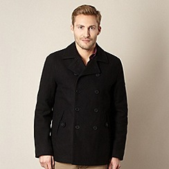 BEN SHERMAN - Black wool blend double breasted coat