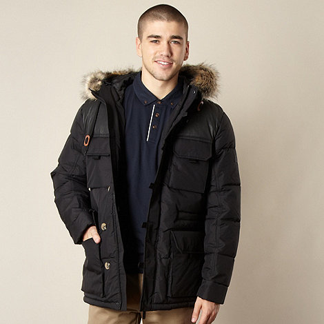 Ben Sherman - Black faux fur hood trim parka jacket