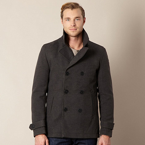 Stanley - Big and tall black four pocket funnel neck coat