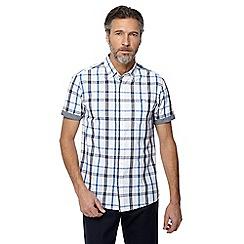 Jacamo - White checked short sleeve shirt