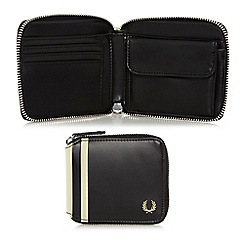 Fred Perry - Black zip around debossed wallet