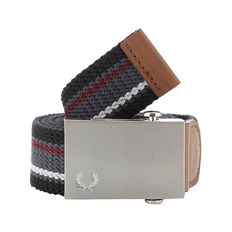 Fred Perry - Black striped canvas belt