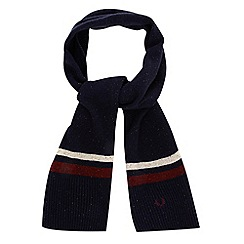 Fred Perry - Navy twin striped lambswool blend scarf