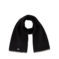 Fred Perry - Black wool rich tipped scarf