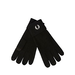 Fred Perry - Black wool touchscreen gloves