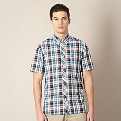 Fred Perry - Blue checked short sleeved regular fit shirt