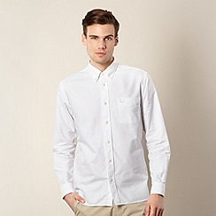 Fred Perry - White long sleeved regular fit oxford shirt