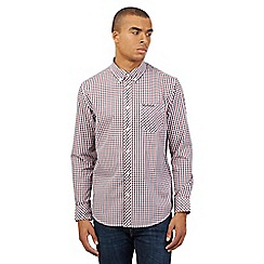BEN SHERMAN - Big and tall dark red checked long sleeved shirt