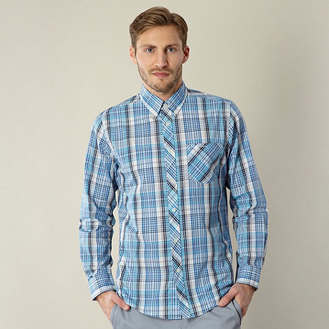 Ben Sherman - Big and tall blue checked long sleeved shirt
