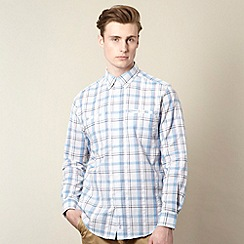BEN SHERMAN - White and blue checked shirt