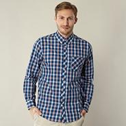 Blue irregular gingham checked shirt