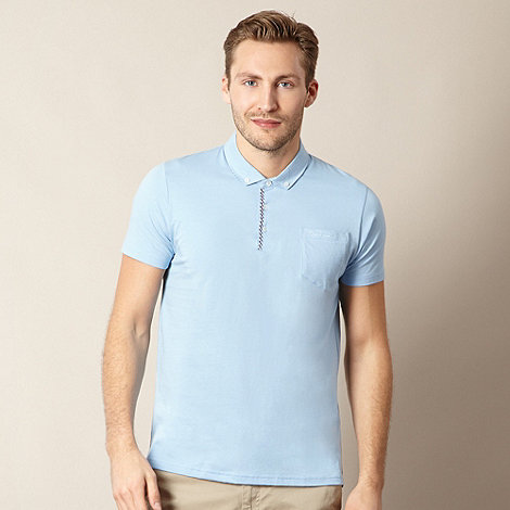 Ben Sherman - Light blue gingham trim polo shirt