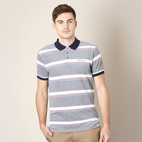 Ben Sherman - Big and tall navy striped pique polo shirt