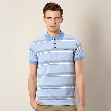 Ben Sherman - Blue stripe pique polo