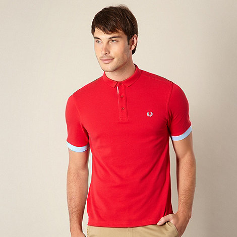 Fred Perry - Red block cuff pique polo shirt