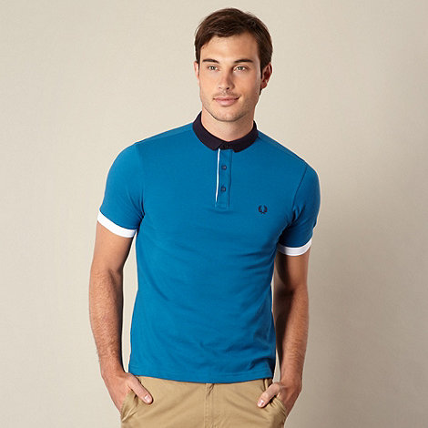 Fred Perry - Blue block collar pique polo shirt