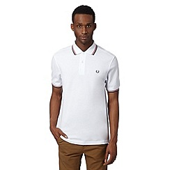 Fred Perry - White ridge striped pique regular fit polo shirt
