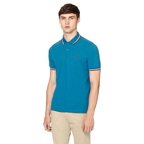 Fred Perry - Dark turquoise pique slim fit polo shirt