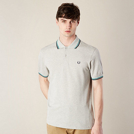 Fred Perry - Light grey striped collar pique polo shirt