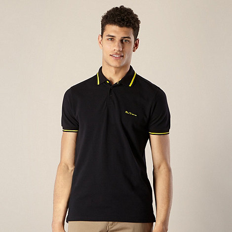 Ben Sherman - Black pique striped collar polo shirt