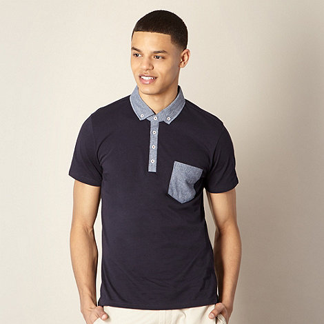 Ben Sherman - Navy chambray trim polo shirt